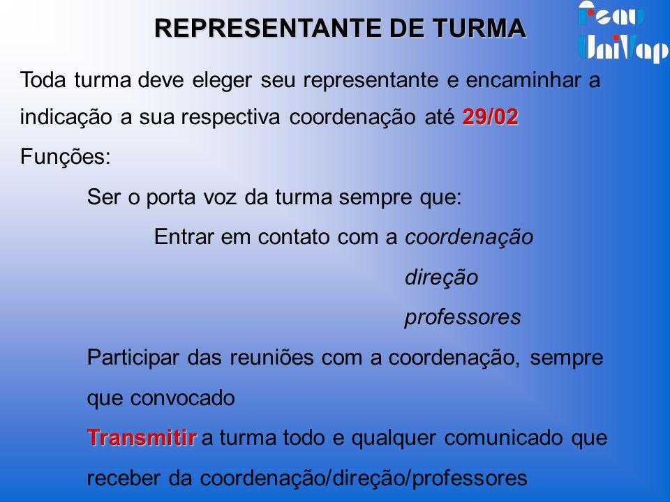 REPRESENTANTE DE TURMA 29/02 Toda turma deve eleger seu representante e encaminhar a indicação a sua respectiva coordenação até 29/02 Funções: Ser o p