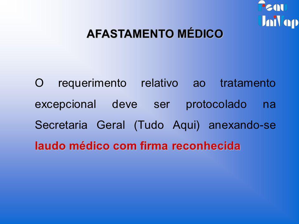laudo médico com firma reconhecida O requerimento relativo ao tratamento excepcional deve ser protocolado na Secretaria Geral (Tudo Aqui) anexando-se
