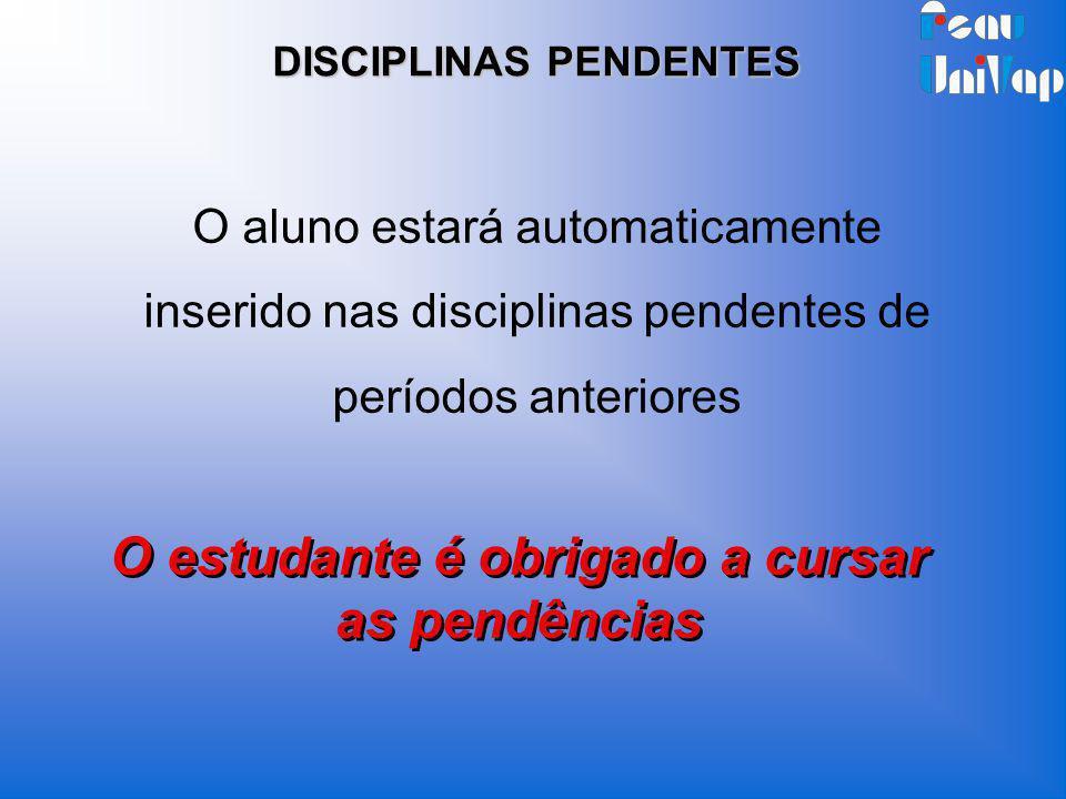 O aluno estará automaticamente inserido nas disciplinas pendentes de períodos anteriores O estudante é obrigado a cursar as pendências DISCIPLINAS PEN