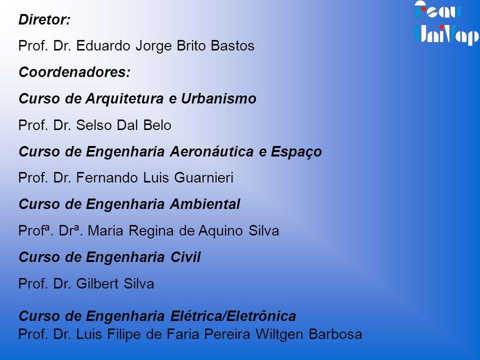 Diretor: Prof. Dr. Eduardo Jorge Brito Bastos Coordenadores: Curso de Arquitetura e Urbanismo Prof. Dr. Selso Dal Belo Curso de Engenharia Aeronáutica