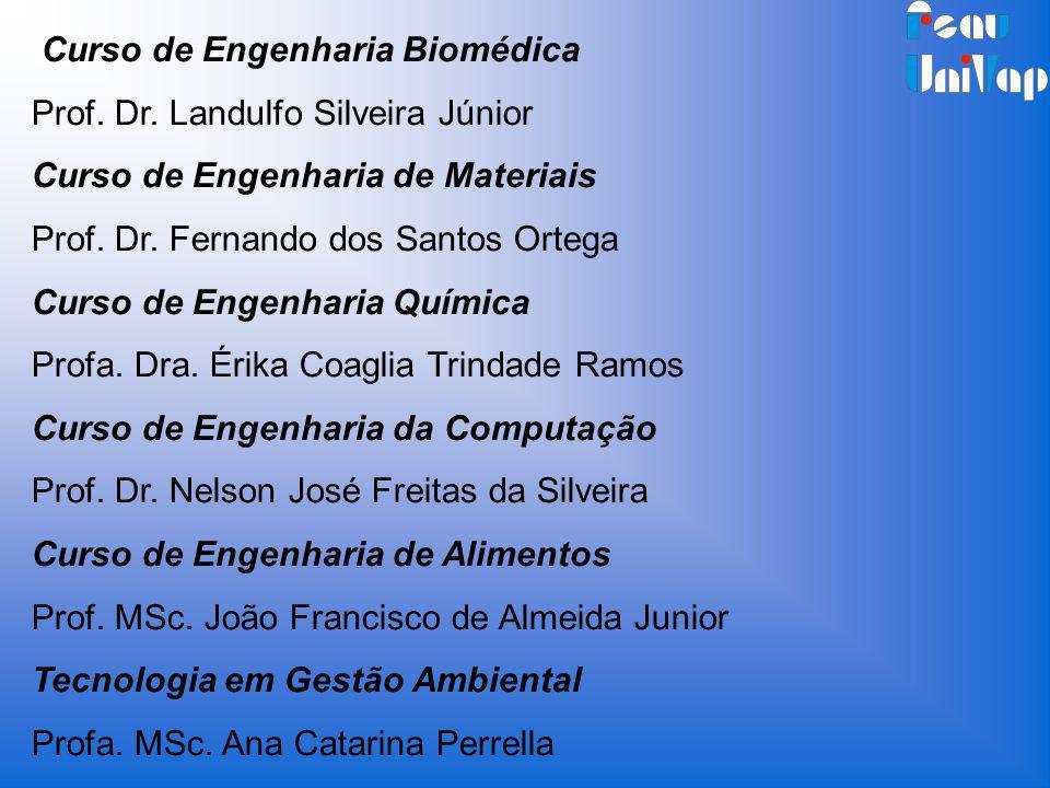 Curso de Engenharia Biomédica Prof. Dr. Landulfo Silveira Júnior Curso de Engenharia de Materiais Prof. Dr. Fernando dos Santos Ortega Curso de Engenh