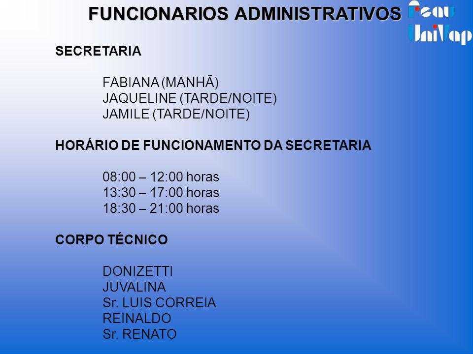 FUNCIONARIOS ADMINISTRATIVOS SECRETARIA FABIANA (MANHÃ) JAQUELINE (TARDE/NOITE) JAMILE (TARDE/NOITE) HORÁRIO DE FUNCIONAMENTO DA SECRETARIA 08:00 – 12