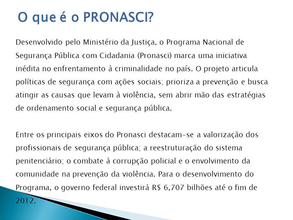 O que é o Pronasci Pronasci inova no enfrentamento ao crime Desenvolvido pelo Ministério da Justiça, o Programa Nacional de Segurança Pública com Cida