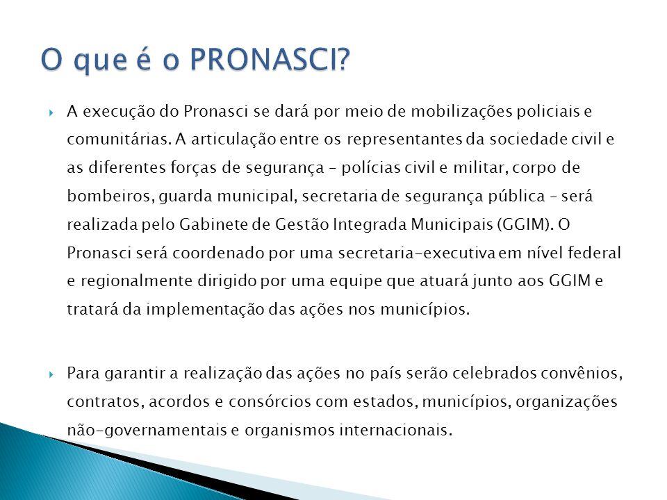 A execução do Pronasci se dará por meio de mobilizações policiais e comunitárias. A articulação entre os representantes da sociedade civil e as difere