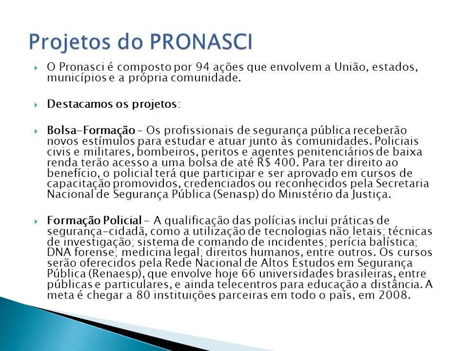 O Pronasci é composto por 94 ações que envolvem a União, estados, municípios e a própria comunidade. Destacamos os projetos: Bolsa-Formação – Os profi