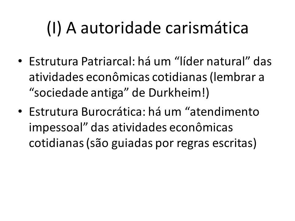 (I) A autoridade carismática Estrutura Patriarcal: há um líder natural das atividades econômicas cotidianas (lembrar a sociedade antiga de Durkheim!) Estrutura Burocrática: há um atendimento impessoal das atividades econômicas cotidianas (são guiadas por regras escritas)