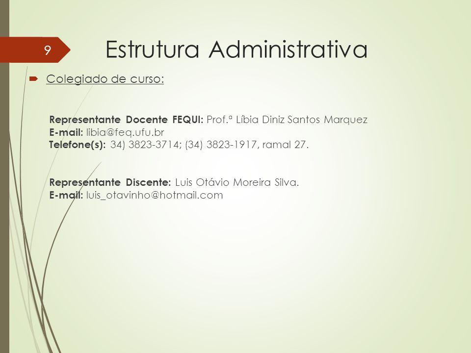 Estrutura Administrativa Colegiado de curso: Representante Docente FEQUI: Prof.ª Líbia Diniz Santos Marquez E-mail: libia@feq.ufu.br Telefone(s): 34)