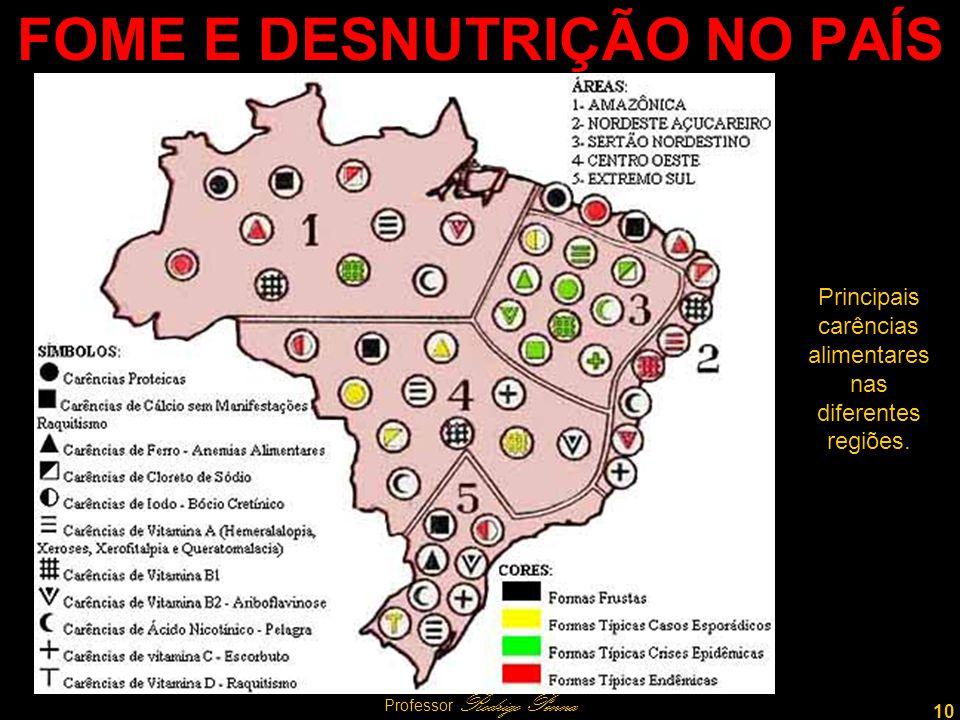 10 Professor Rodrigo Penna FOME E DESNUTRIÇÃO NO PAÍS Principais carências alimentares nas diferentes regiões.