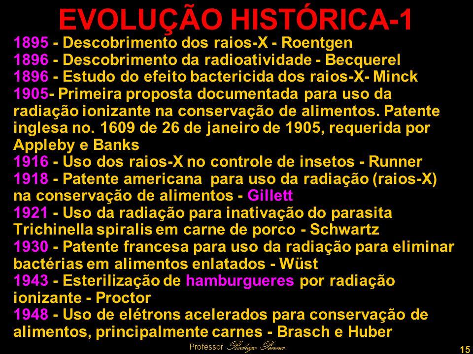 15 Professor Rodrigo Penna EVOLUÇÃO HISTÓRICA-1 1895 - Descobrimento dos raios-X - Roentgen 1896 - Descobrimento da radioatividade - Becquerel 1896 - Estudo do efeito bactericida dos raios-X- Minck 1905- Primeira proposta documentada para uso da radiação ionizante na conservação de alimentos.
