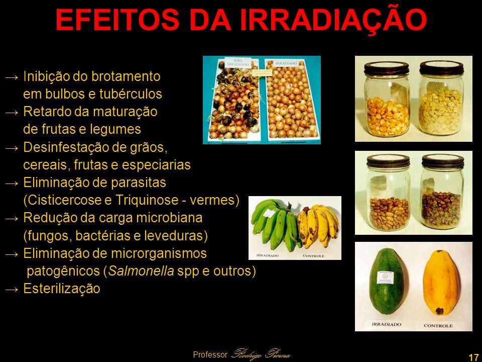 17 Professor Rodrigo Penna EFEITOS DA IRRADIAÇÃO Inibição do brotamento em bulbos e tubérculos Retardo da maturação de frutas e legumes Desinfestação de grãos, cereais, frutas e especiarias Eliminação de parasitas (Cisticercose e Triquinose - vermes) Redução da carga microbiana (fungos, bactérias e leveduras) Eliminação de microrganismos patogênicos (Salmonella spp e outros) Esterilização