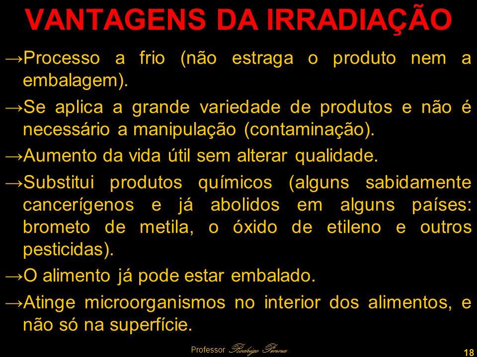 18 Professor Rodrigo Penna VANTAGENS DA IRRADIAÇÃO Processo a frio (não estraga o produto nem a embalagem).