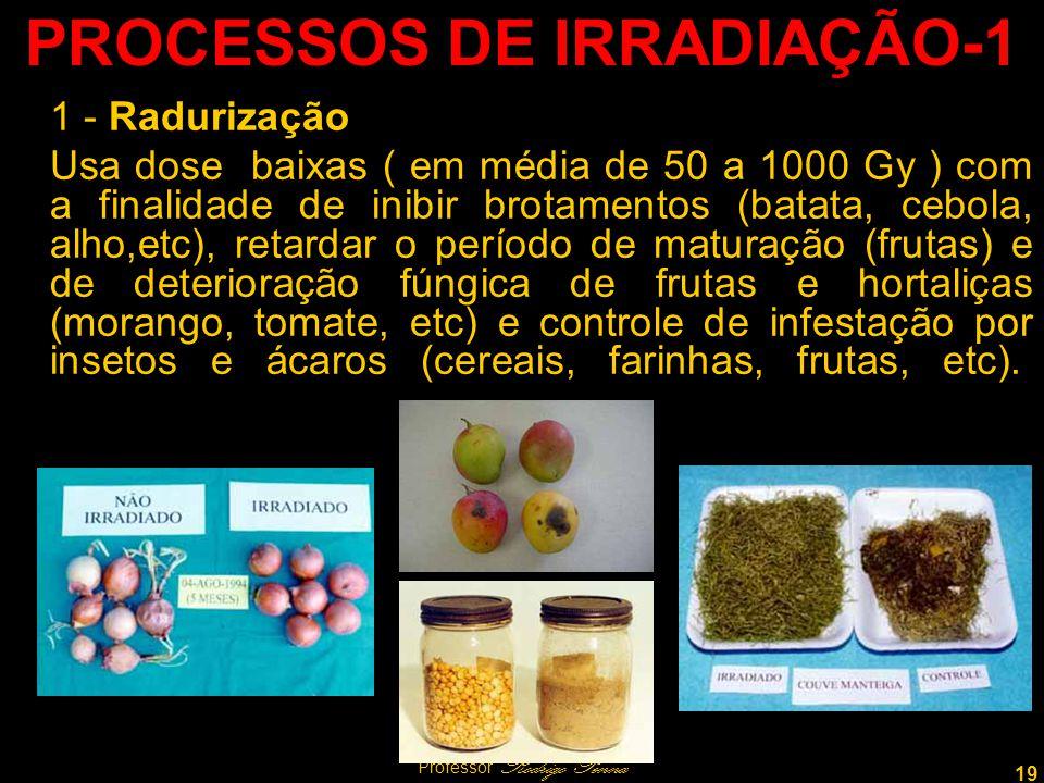 19 Professor Rodrigo Penna PROCESSOS DE IRRADIAÇÃO-1 1 - Radurização Usa dose baixas ( em média de 50 a 1000 Gy ) com a finalidade de inibir brotamentos (batata, cebola, alho,etc), retardar o período de maturação (frutas) e de deterioração fúngica de frutas e hortaliças (morango, tomate, etc) e controle de infestação por insetos e ácaros (cereais, farinhas, frutas, etc).