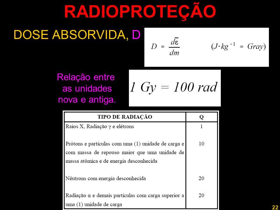 22 Professor Rodrigo Penna RADIOPROTEÇÃO DOSE ABSORVIDA, D Relação entre as unidades nova e antiga.