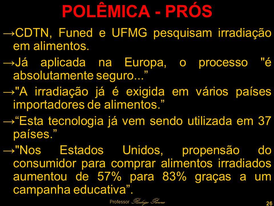 26 Professor Rodrigo Penna POLÊMICA - PRÓS CDTN, Funed e UFMG pesquisam irradiação em alimentos.