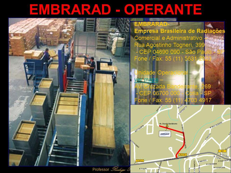 29 Professor Rodrigo Penna EMBRARAD - OPERANTE EMBRARAD- Empresa Brasileira de Radiações Comercial e Administrativo – Rua Agostinho Togneri, 399 - CEP 04690 090 - São Paulo - SP Fone / Fax: 55 (11) 5631 2323 Unidade Operacional ver mapaver mapa – Av.