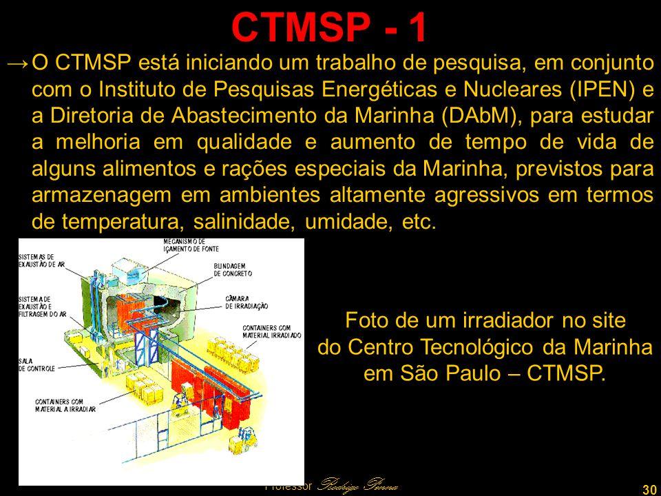 30 Professor Rodrigo Penna CTMSP - 1 O CTMSP está iniciando um trabalho de pesquisa, em conjunto com o Instituto de Pesquisas Energéticas e Nucleares (IPEN) e a Diretoria de Abastecimento da Marinha (DAbM), para estudar a melhoria em qualidade e aumento de tempo de vida de alguns alimentos e rações especiais da Marinha, previstos para armazenagem em ambientes altamente agressivos em termos de temperatura, salinidade, umidade, etc.