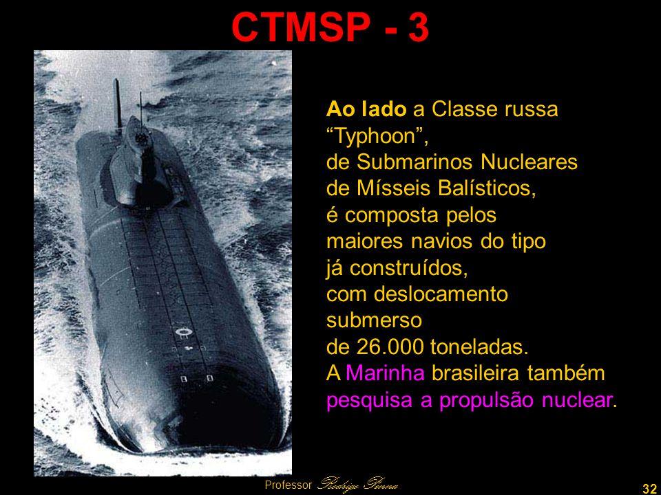 32 Professor Rodrigo Penna CTMSP - 3 Ao lado a Classe russa Typhoon, de Submarinos Nucleares de Mísseis Balísticos, é composta pelos maiores navios do tipo já construídos, com deslocamento submerso de 26.000 toneladas.
