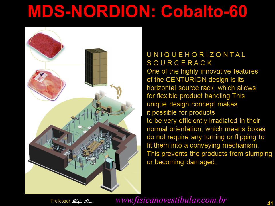 41 MDS-NORDION: Cobalto-60 U N I Q U E H O R I Z O N T A L S O U R C E R A C K One of the highly innovative features of the CENTURION design is its ho