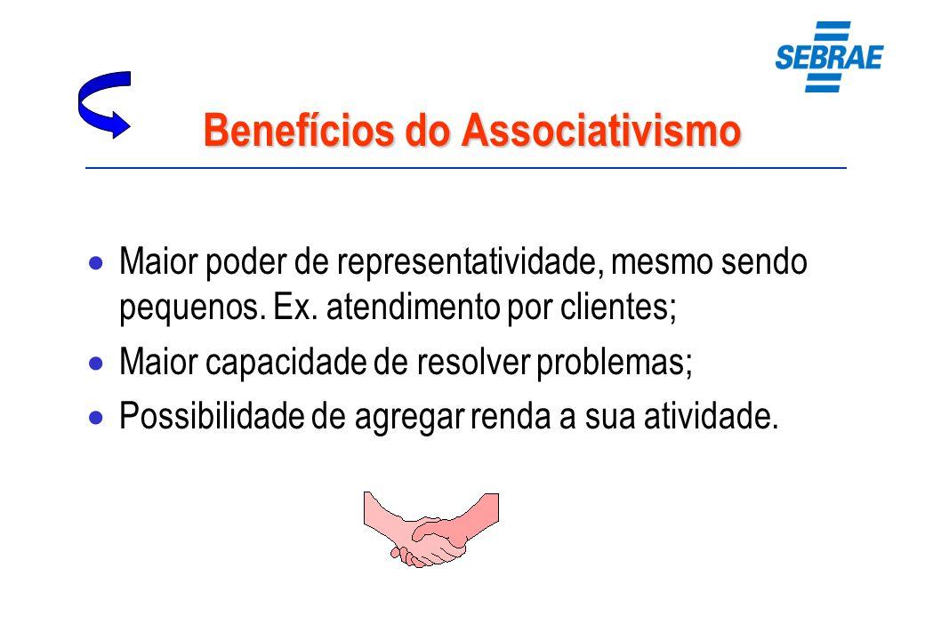 Benefícios do Associativismo Maior poder de representatividade, mesmo sendo pequenos. Ex. atendimento por clientes; Maior capacidade de resolver probl