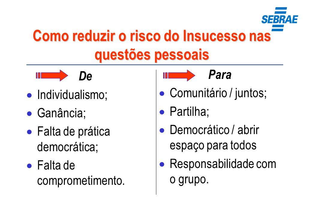 Como reduzir o risco do Insucesso nas questões pessoais De Individualismo; Ganância; Falta de prática democrática; Falta de comprometimento. Para Comu