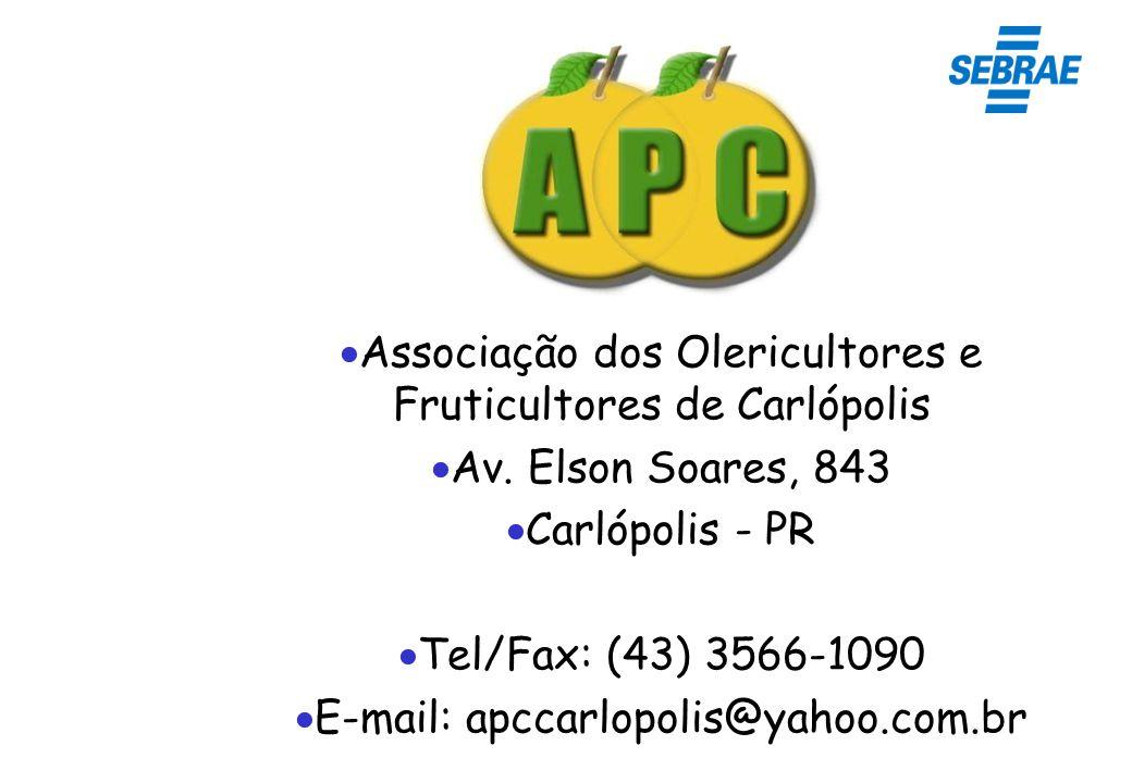Associação dos Olericultores e Fruticultores de Carlópolis Av. Elson Soares, 843 Carlópolis - PR Tel/Fax: (43) 3566-1090 E-mail: apccarlopolis@yahoo.c