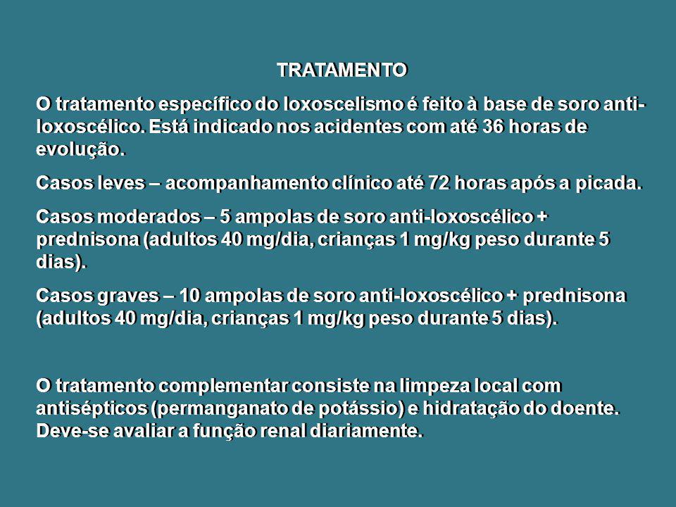 TRATAMENTO O tratamento específico do loxoscelismo é feito à base de soro anti- loxoscélico. Está indicado nos acidentes com até 36 horas de evolução.