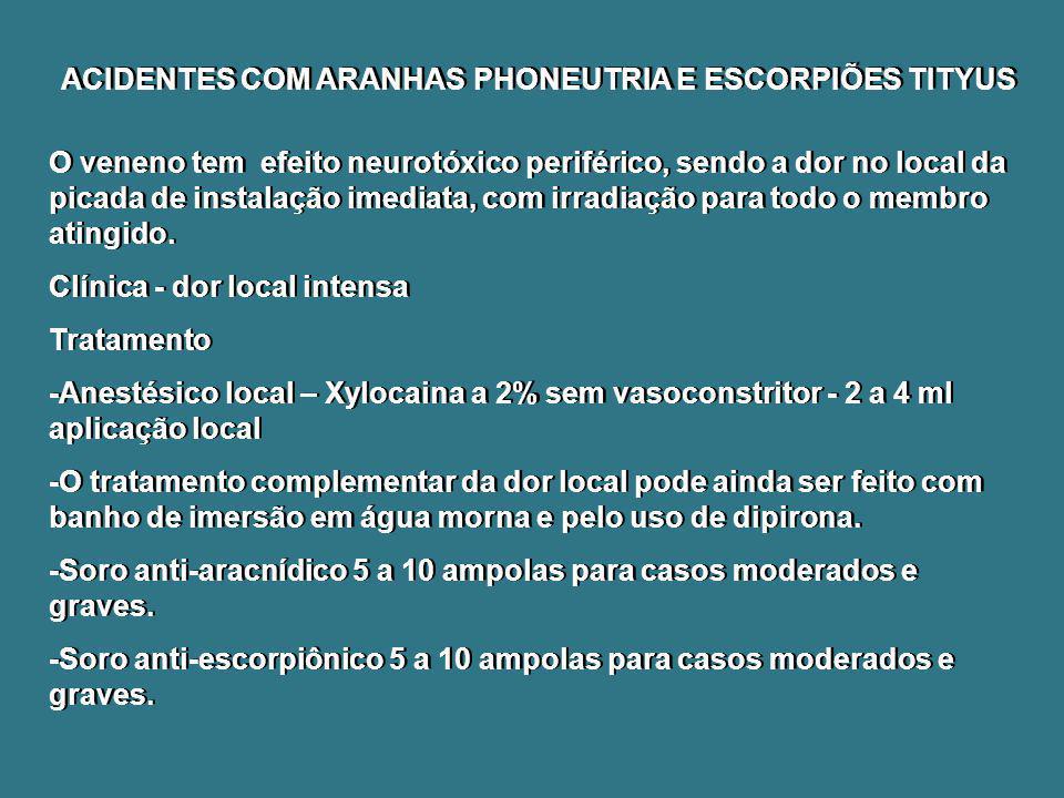ACIDENTES COM ARANHAS PHONEUTRIA E ESCORPIÕES TITYUS O veneno tem efeito neurotóxico periférico, sendo a dor no local da picada de instalação imediata