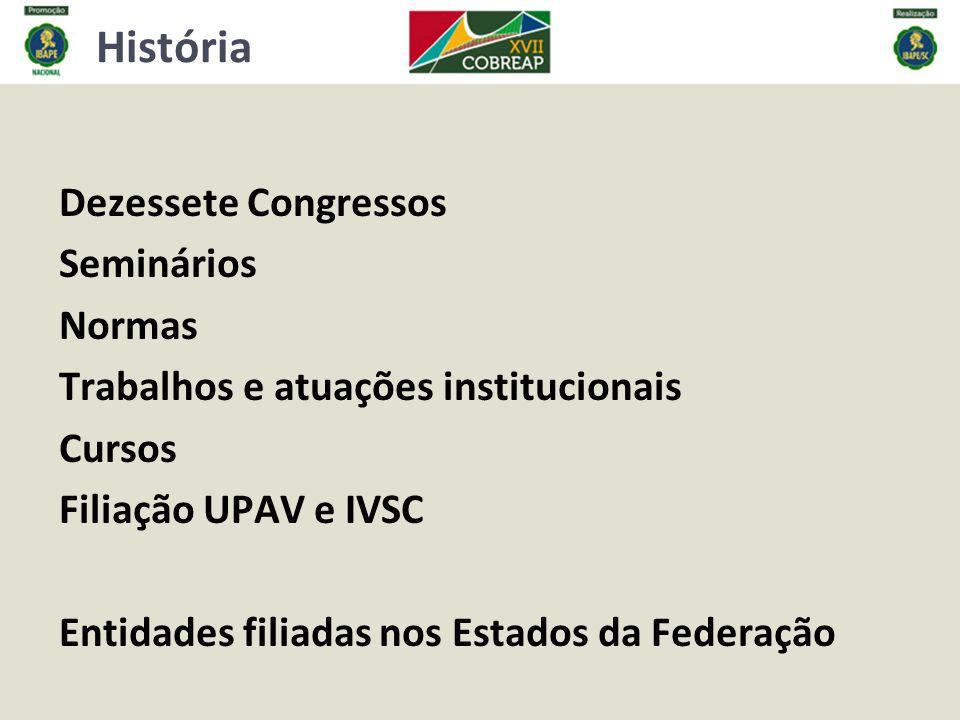 História Dezessete Congressos Seminários Normas Trabalhos e atuações institucionais Cursos Filiação UPAV e IVSC Entidades filiadas nos Estados da Federação