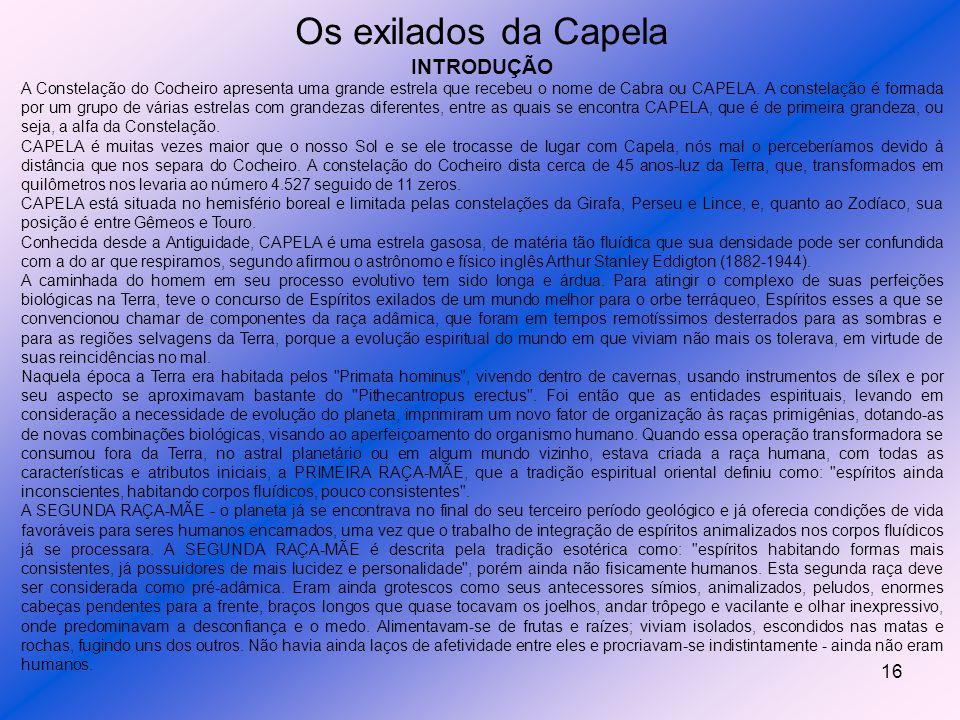 15 Capella Capella é a sexta estrela mais brilhante do céu e o seu nome advém do latim capella = cabra. É a α Aurigae ou 13 Aurigae, uma gigante amare