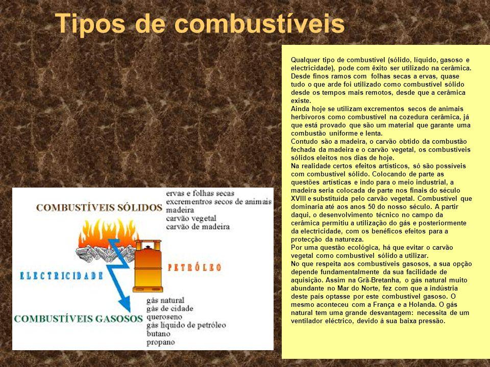2 Tipos de combustíveis Qualquer tipo de combustível (sólido, líquido, gasoso e electricidade), pode com êxito ser utilizado na cerâmica.