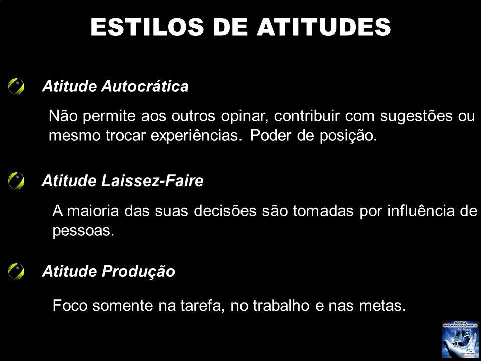 Atitude Autocrática ESTILOS DE ATITUDES Não permite aos outros opinar, contribuir com sugestões ou mesmo trocar experiências. Poder de posição. Atitud