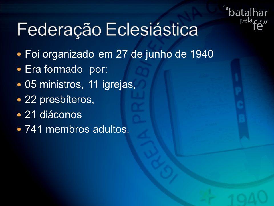 Foi organizado em 27 de junho de 1940 Era formado por: 05 ministros, 11 igrejas, 22 presbíteros, 21 diáconos 741 membros adultos.