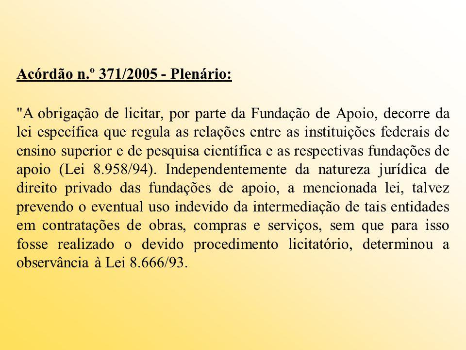 Acórdão n.º 371/2005 - Plenário: A obrigação de licitar, por parte da Fundação de Apoio, decorre da lei específica que regula as relações entre as instituições federais de ensino superior e de pesquisa científica e as respectivas fundações de apoio (Lei 8.958/94).