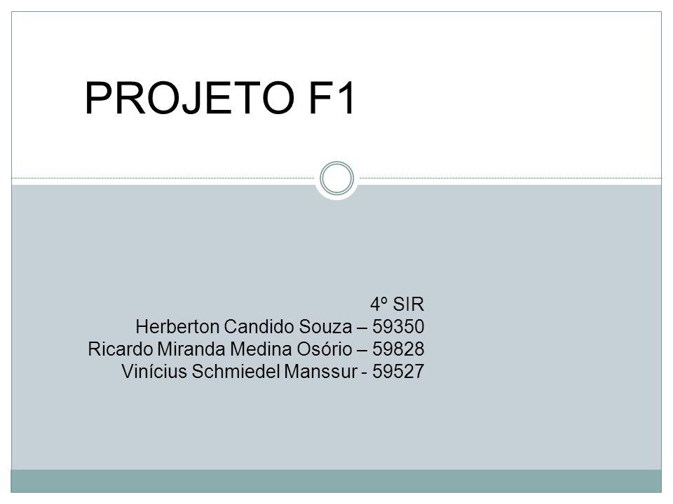 PROJETO F1 4º SIR Herberton Candido Souza – 59350 Ricardo Miranda Medina Osório – 59828 Vinícius Schmiedel Manssur - 59527
