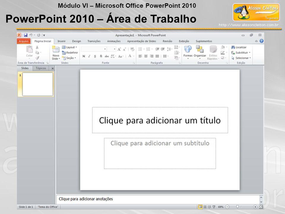 PowerPoint 2010 – Área de Trabalho Módulo VI – Microsoft Office PowerPoint 2010