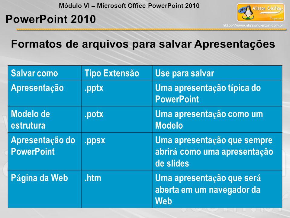 Formatos de arquivos para salvar Apresentações PowerPoint 2010 Salvar comoTipo ExtensãoUse para salvar Apresenta ç ão.pptxUma apresenta ç ão t í pica