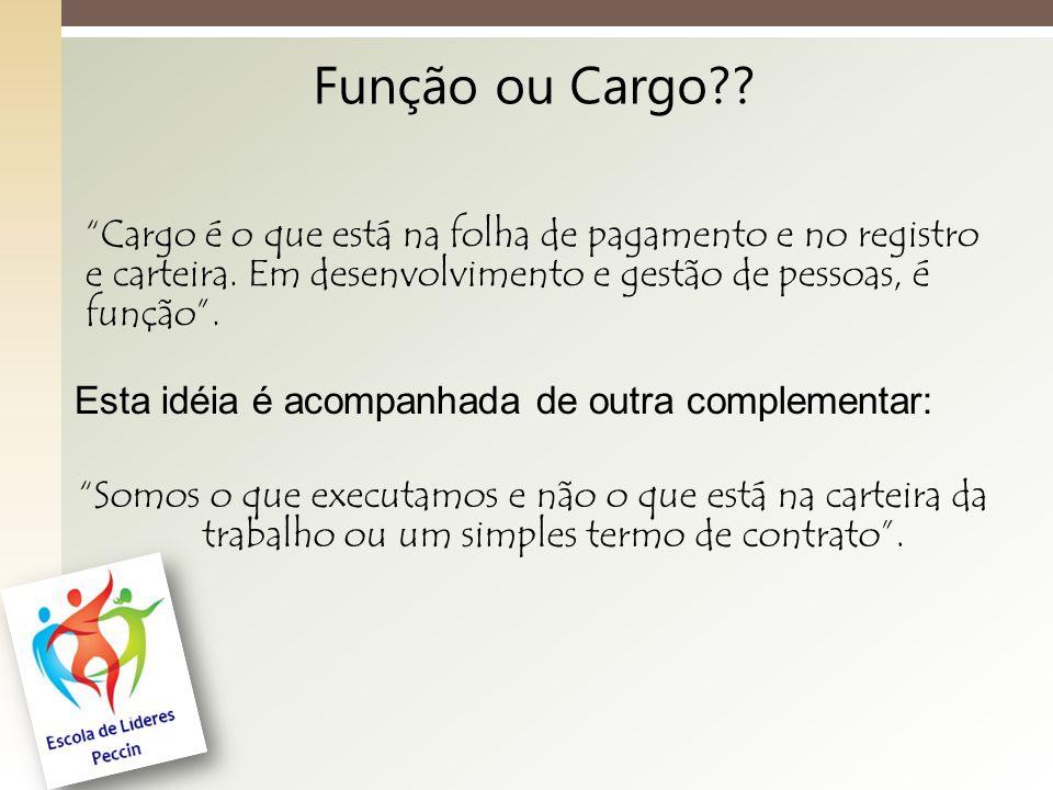 Função ou Cargo?.Cargo é o que está na folha de pagamento e no registro e carteira.