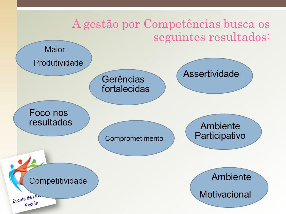 A gestão por Competências busca os seguintes resultados: Maior Assertividade Produtividade Foco nos resultados Ambiente Participativo Comprometimento Competitividade Ambiente Motivacional Gerências fortalecidas