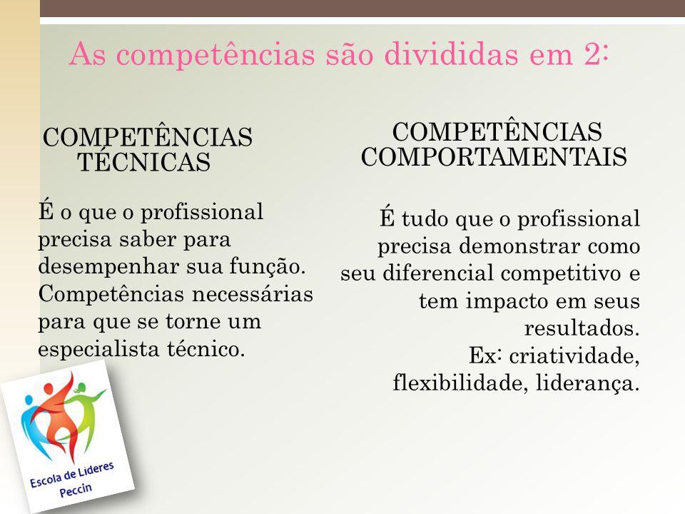 As competências são divididas em 2: COMPETÊNCIAS TÉCNICAS É o que o profissional precisa saber para desempenhar sua função.