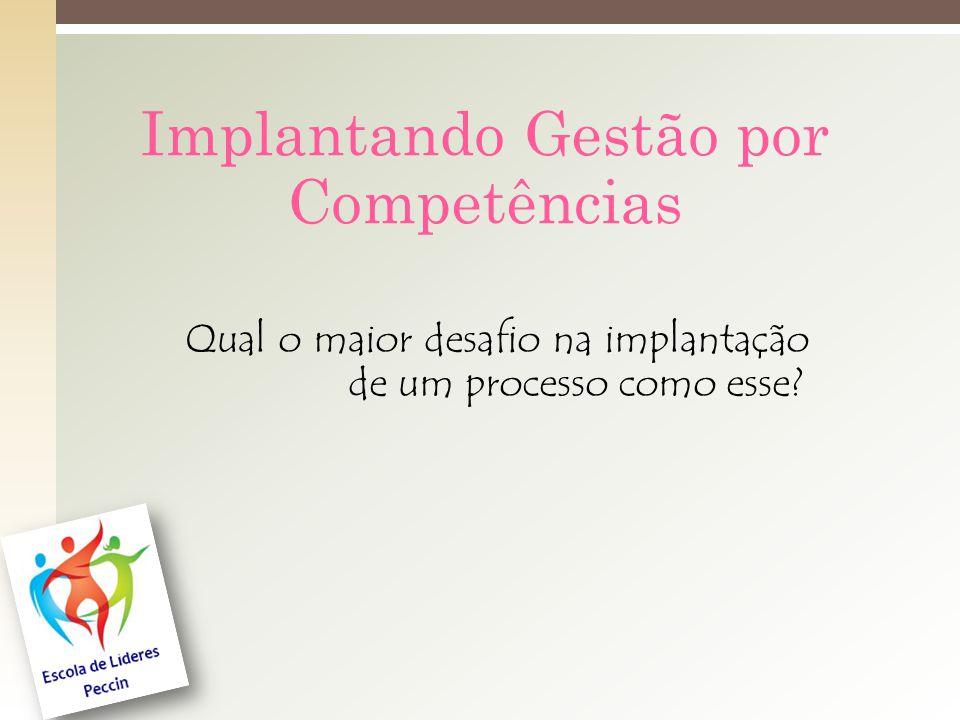 Implantando Gestão por Competências Qual o maior desafio na implantação de um processo como esse?