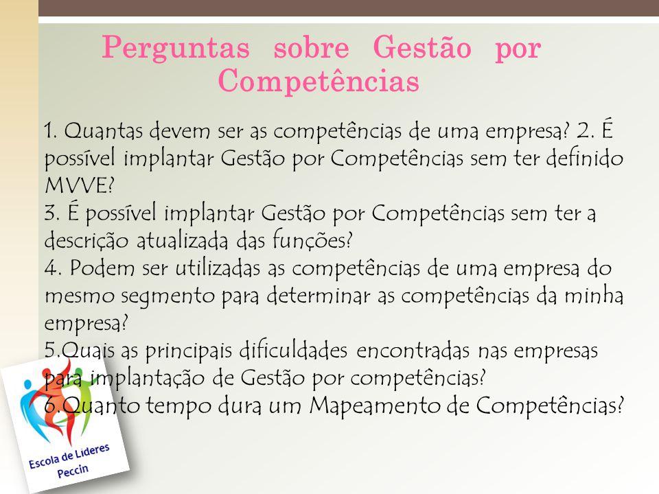 Perguntas sobre Gestão por Competências 1.Quantas devem ser as competências de uma empresa.