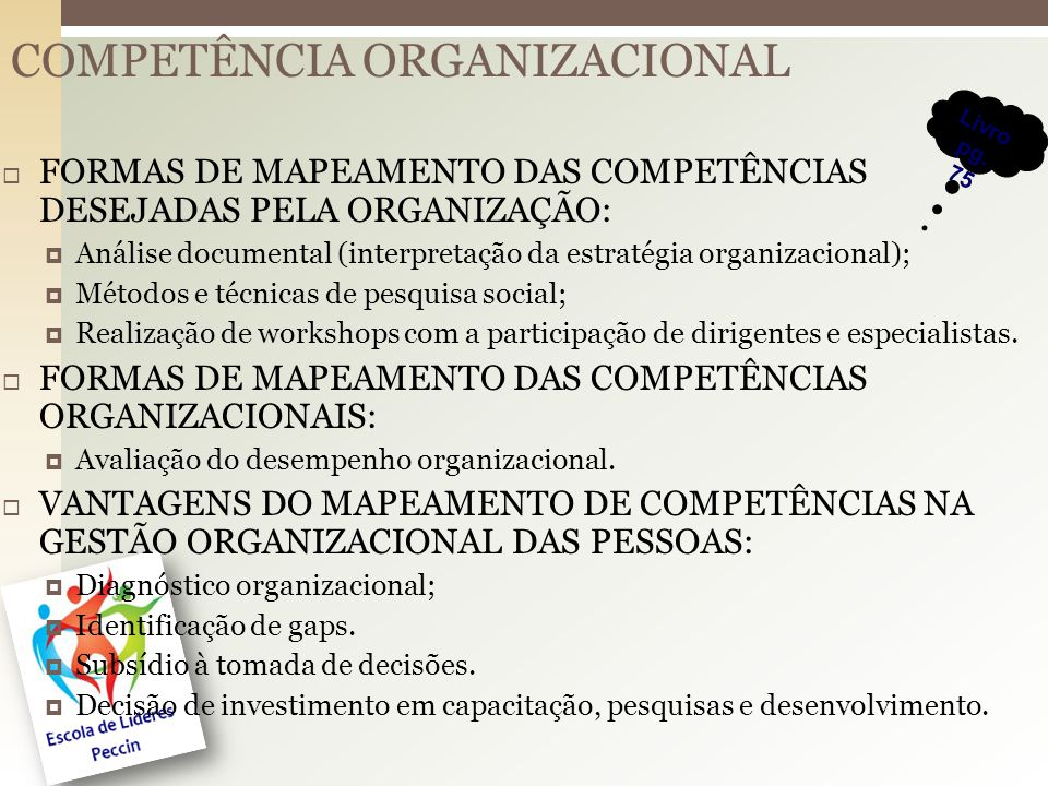 COMPETÊNCIA ORGANIZACIONAL FORMAS DE MAPEAMENTO DAS COMPETÊNCIAS DESEJADAS PELA ORGANIZAÇÃO: Análise documental (interpretação da estratégia organizacional); Métodos e técnicas de pesquisa social; Realização de workshops com a participação de dirigentes e especialistas.