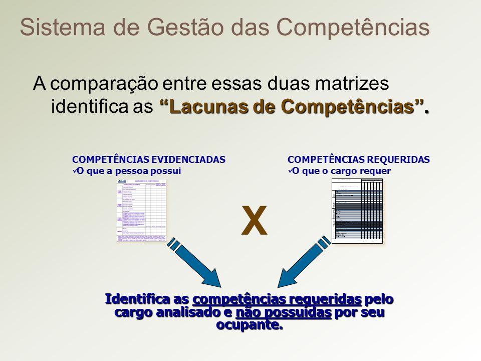 COMPETÊNCIAS EVIDENCIADAS O que a pessoa possui COMPETÊNCIAS REQUERIDAS O que o cargo requer Sistema de Gestão das Competências Lacunas de Competências.