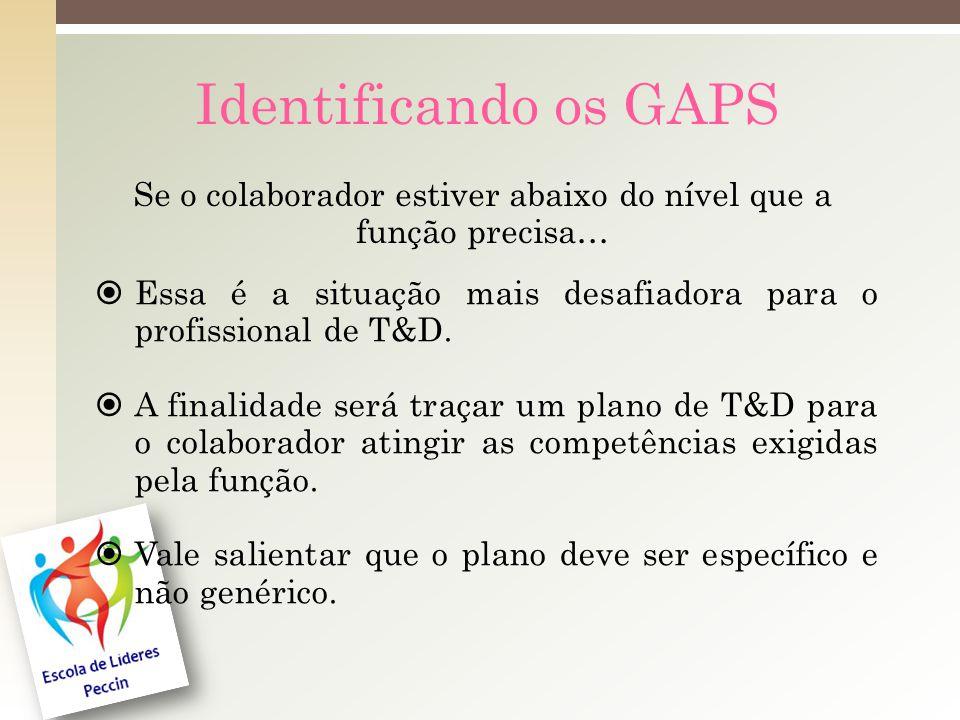 Identificando os GAPS Se o colaborador estiver abaixo do nível que a função precisa… Essa é a situação mais desafiadora para o profissional de T&D.