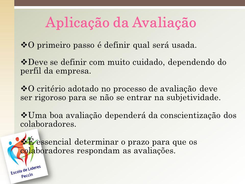 Aplicação da Avaliação O primeiro passo é definir qual será usada.