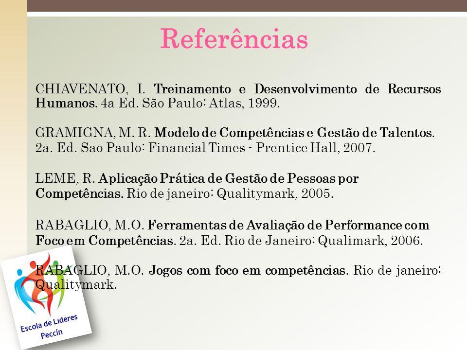 Referências CHIAVENATO, I.Treinamento e Desenvolvimento de Recursos Humanos.
