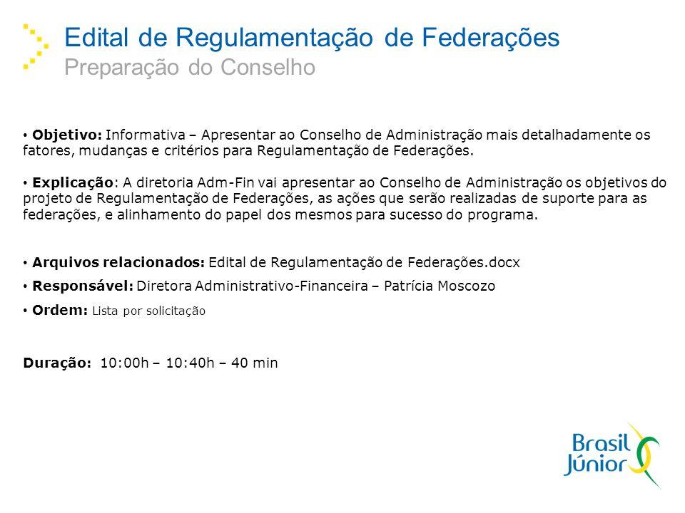 Edital de Regulamentação de Federações Preparação do Conselho Objetivo: Informativa – Apresentar ao Conselho de Administração mais detalhadamente os f