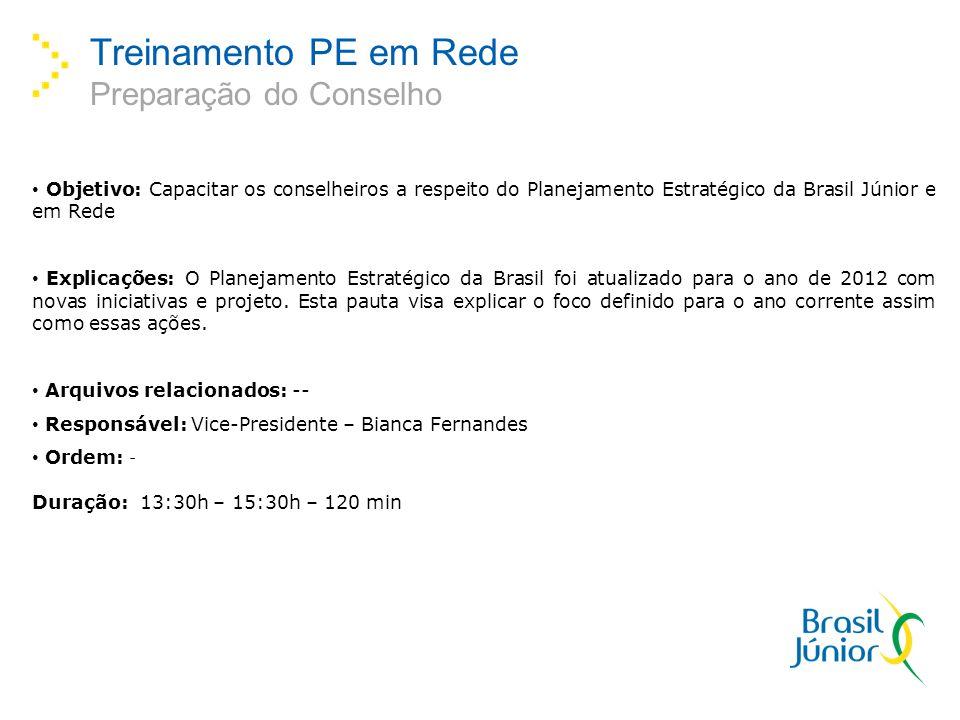 Treinamento PE em Rede Preparação do Conselho Objetivo: Capacitar os conselheiros a respeito do Planejamento Estratégico da Brasil Júnior e em Rede Explicações: O Planejamento Estratégico da Brasil foi atualizado para o ano de 2012 com novas iniciativas e projeto.