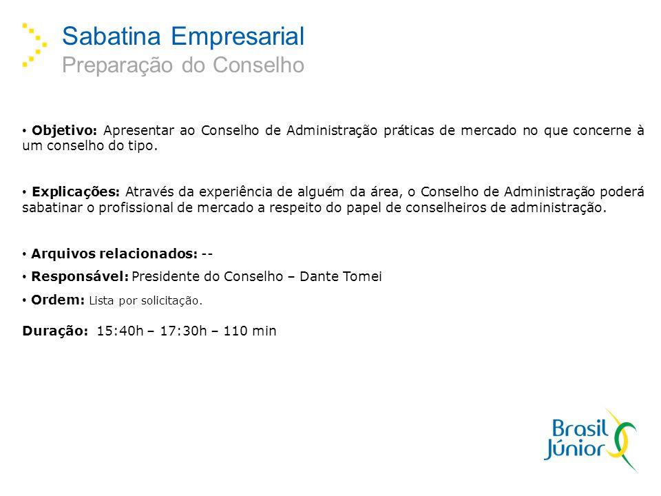 Sabatina Empresarial Preparação do Conselho Objetivo: Apresentar ao Conselho de Administração práticas de mercado no que concerne à um conselho do tipo.