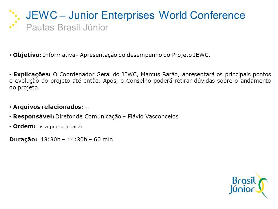 JEWC – Junior Enterprises World Conference Pautas Brasil Júnior Objetivo: Informativa– Apresentação do desempenho do Projeto JEWC. Explicações: O Coor